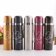 Bullet Thermos Cup Cartoon Stainless Steel Bottle 500ml Vacuum Flask Creative Outdoor Travel Students Water Bottles Gift