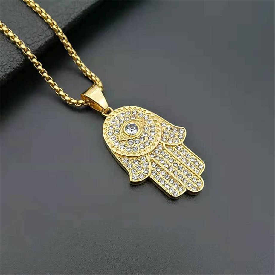 Collier femme homme Hamsa main de Fatima couleur or acier inoxydable glacé mauvais œil pendentif & chaîne Hip Hop turc bijoux