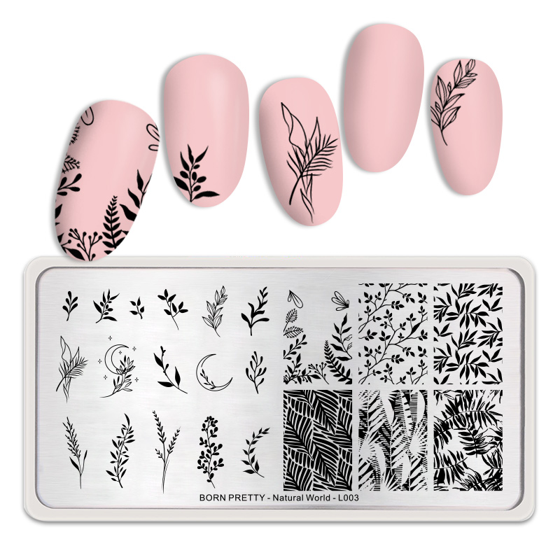 BORN PRETTY Nature Leaves Plants Design Image Template Nail  Stamping Plates Stainless Steel Nail Decoration Plate