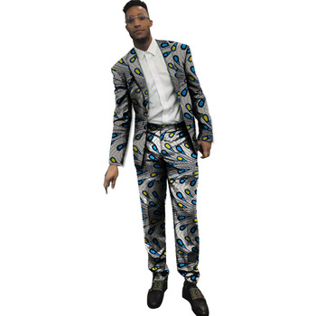 Gentlemanly men's suit Dashiki casual blazers with trousers Ankara fashion African traditional party wear customized