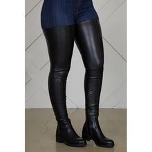 Botas por encima de la rodilla para mujer, botines hasta el muslo rectos a la moda, cómodos, material pu, color negro, primavera y otoño, 2020