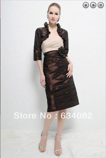 Free Shipping 2016  Satin Dress Women Elegant Dress Plus Size Vestidos Formales Short Mother Of The Bride Dresses With Jacket