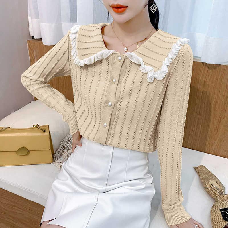 귀여운 니트 캔디 색상 여성용 스웨터 sueter mujer invierno 2020 새로운 한국어 니트 스웨터 긴 소매 자르기 스웨터 112B