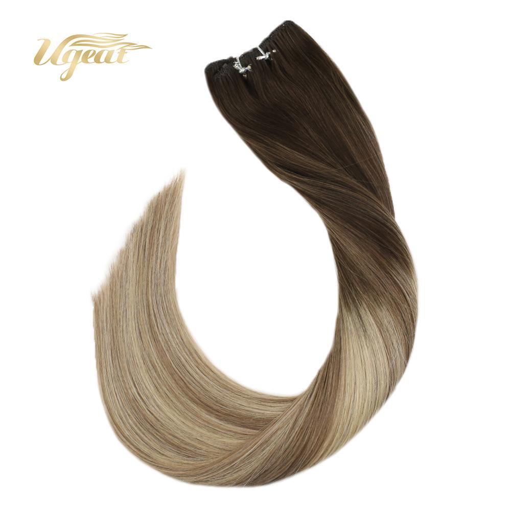Ugeat Micro Bead Human Hair Extensions Weft Human Hair Balayage Color Hair 14-24