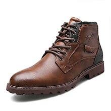 Nam Vintage Mắt Cá Chân Giày Mùa Thu Đông Nam Casual Nam Da Giày Thoải Mái Người Giày 2019 Hàng Mới Về