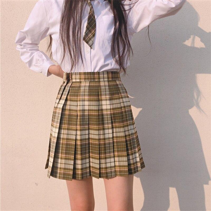 Korean Japanese Student High Waist A Line JK Uniform Skirt Women's College Mini Skirt Pleated Skirt High School Plaid Skirt