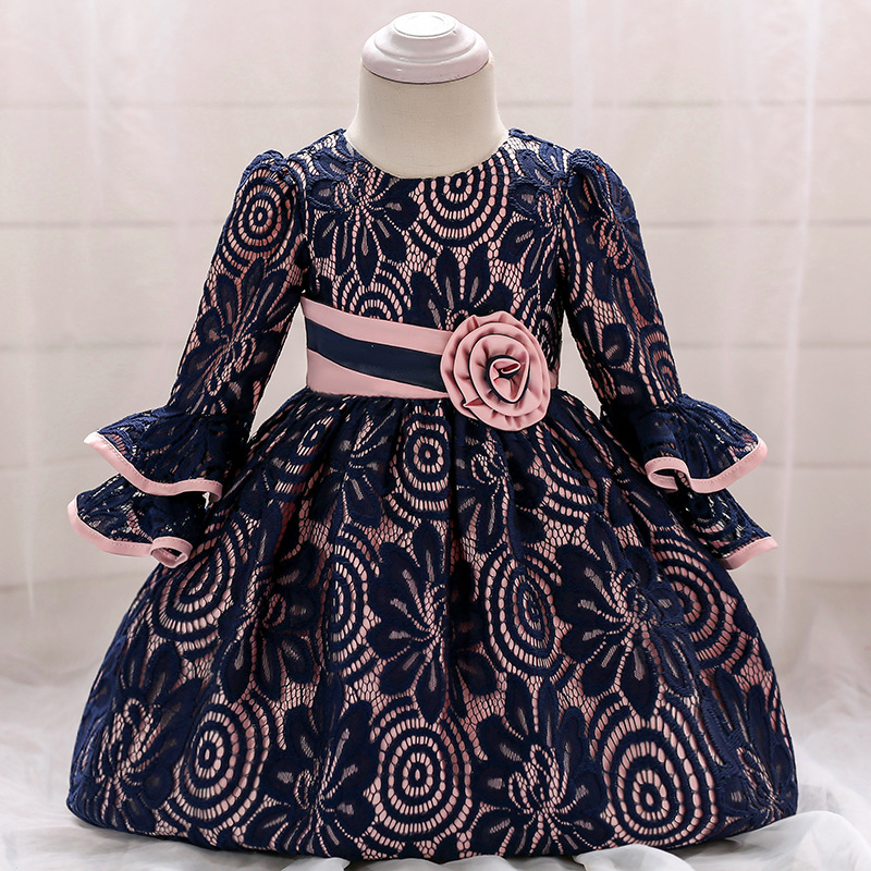 1-3T New Autumn Winter   Flower     Girl     Dress   Fashion Cute Long Sleeves   Flower     Girl     Dresses