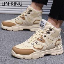 Lin king Мужская зимняя обувь на шнуровке размера плюс 39 46