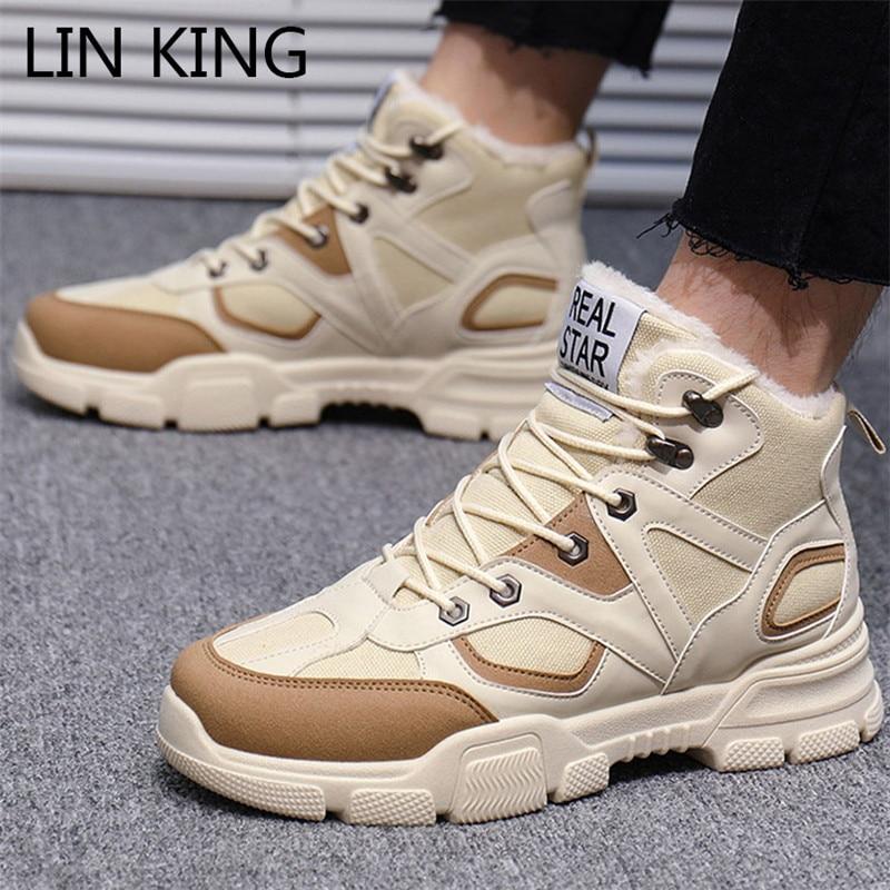 LIN KING Lace Up Men Winter Shoes Plus Size 39-46 Warm Ankle Botas Hombre For Leather Boots Shoes Warm Plush Sneakers Big Size