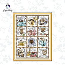 Joy Sunday,December coffee,cross stitch embroidery kit,11CTor14CT Printed Fabric,Needlework counted cross-stitch patterns joy sunday sweetnessand poetic counted cross stitch 11