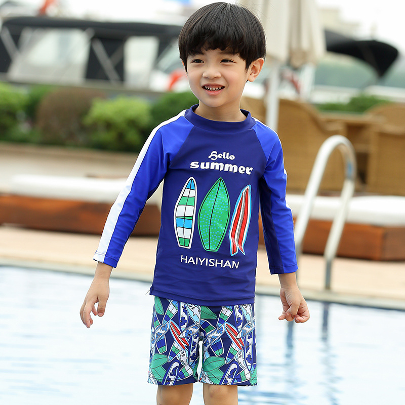 Korean-style New Style KID'S Swimwear BOY'S Split Type Long Sleeve Sun-resistant Cartoon Shorts Travel Holiday Hot Springs Swimw
