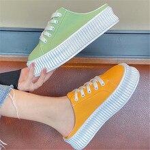 Baotou – chaussures de sport en toile à semelles épaisses, demi-pantoufles, baskets épaisses pour femmes, sans talon, Muffin, blanches, pour paresseux, nouvelle collection été 2021