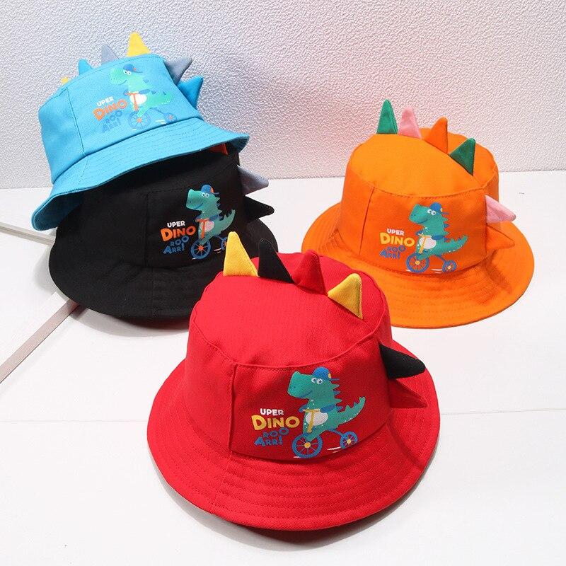 Весенне-Осенняя детская Кепка-ведро для рыбалки, уличная Кепка в стиле хип-хоп, кепка с рисунком динозавра для маленьких девочек и мальчиков...