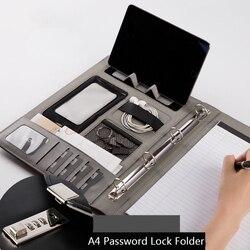 A4 Password di Documenti Multi-funzione di Cartella di Cuoio di Affari del Sacchetto di Memorizzazione Dei Dati Conferenza Organizzatore Robusto Office Manager Clip