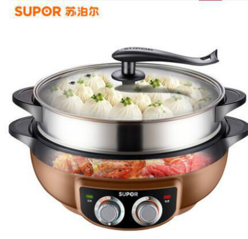 6L Korean Multifunction Stainless Steel Electric Pot Barbecue Machine Electric Hot Pot Healthy No Fumes Non-stick Pan Timing