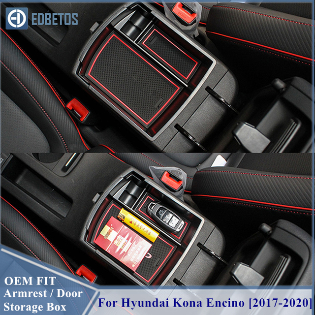 EDBETOS Kona schowek w podłokietniku dla Hyundai Kona Encino 2017 2018 2019 2020 Kona konsola środkowa pojemnik taca akcesoria