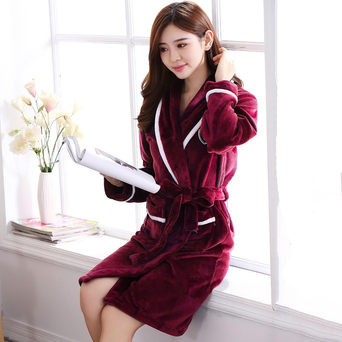 Women Nightdress Coral Fleece Sleepwear Winter Warm Kimono Robe Gown Plus Size 3XL Intimate Lingerie Thick Bathrobe Home Clothes