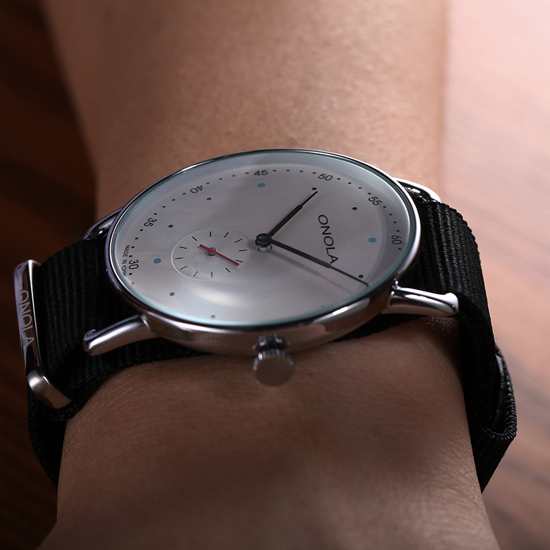 ONOLA Stainless Steel Quartz Simple Watch Male Fashion Dress Casual Wrist Watch Nylon Waterproof Ultrathin Relogio Masculino
