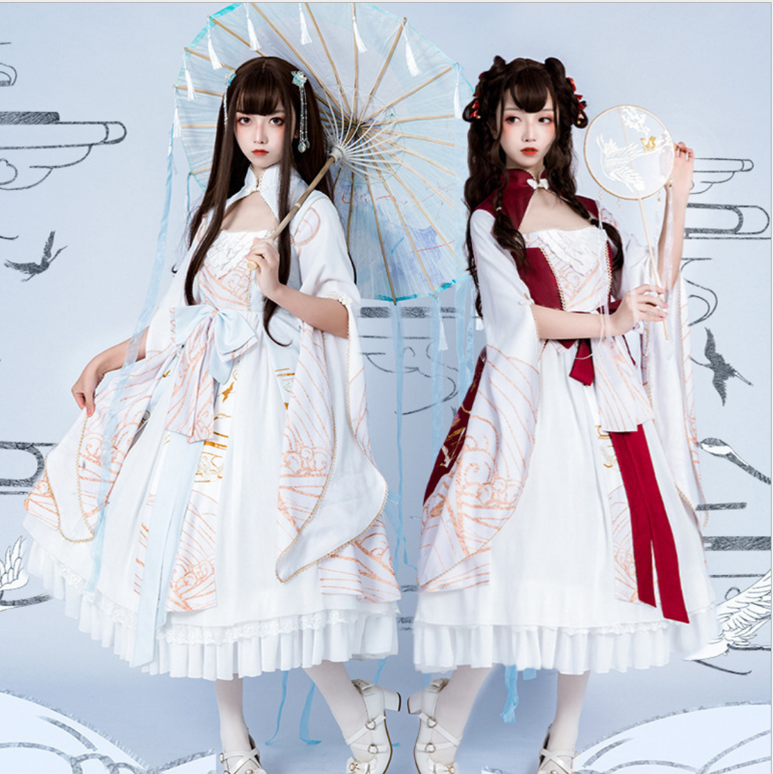 Chinese style han element sweet lolita dress vintage stand bowknot printing high waist kawaii dress girl loli gothic lolita op