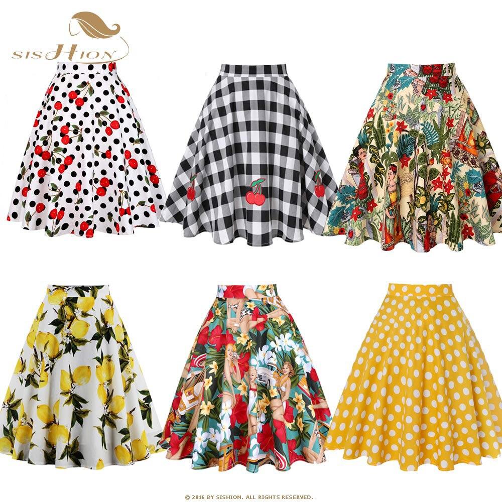 Women Skirt 2016 American Apparel Midi Skirt Floral Print Dot Black Red Blue Plus Size Summer High Waist Skirts faldas VD0020
