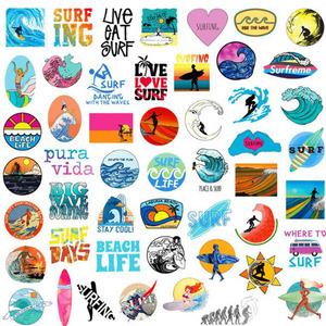 Image 5 - 10/30/50 pcs/pack INS Fun Beach Surfing Stickers For Laptop Luggage Skateboard Guitar Motocycle Doodle Decor Surfboard Stickers