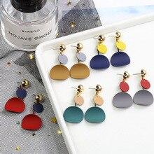 Korea S925 Pure Silver Needle Eardrop Personality Geometry Earrings For Women 2019 Vintage Metal Drop
