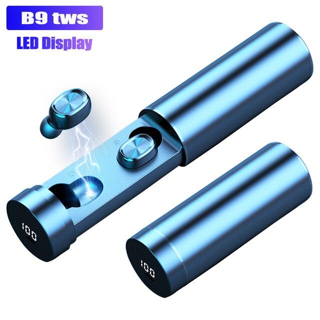 B9 TWS אלחוטי אוזניות אוזניות 8D HIFI Bluetooth 5.0 ספורט מיקרופון אוזניות LED תצוגת משחקי מוסיקה אוזניות עבור טלפונים