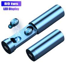 B9 TWS bezprzewodowe słuchawki douszne 8D HIFI Bluetooth 5.0 Sport MIC słuchawki douszne wyświetlacz LED Gaming muzyczny zestaw słuchawkowy do telefonów