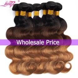 Оптовая продажа T1B/4/30 блондинка с эффектом деграде (переход от темного к пряди человеческих волос для Комплект волнистые пряди наращивание ...