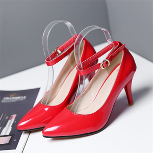 Image 3 - אופנה גבוהה עקבים נשים משאבות נעלי אלגנטי קרסול רצועות ThinHeels מוצק מזדמן קלאסי אדום עירום חתונה נעלי אישה גודל גדול