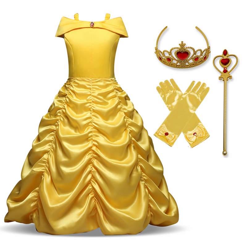 Princess Cosplay Costume Elegant Princess Dress for Girls Children's Party Dress-up 4-10T Kids Ball Gown 4
