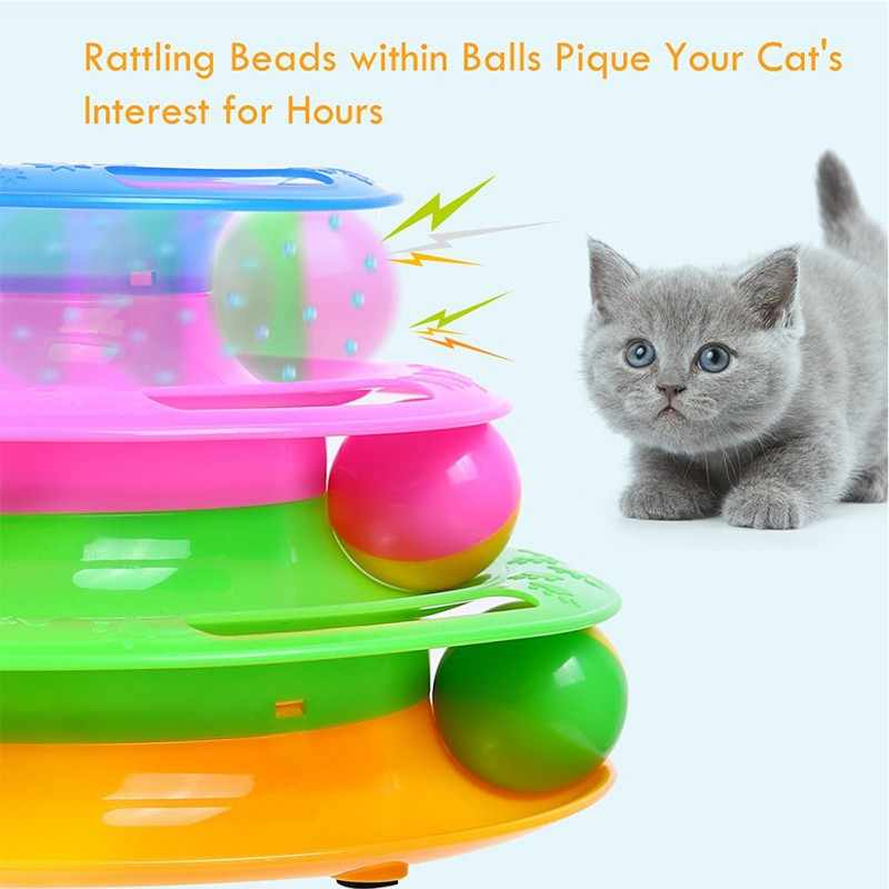 재미 있은 애완 동물 고양이 장난감 지능 트리플 플레이 디스크 고양이 장난감 공 고양이 미친 공 디스크 대화 형 장난감 iq traning 고양이 장난감