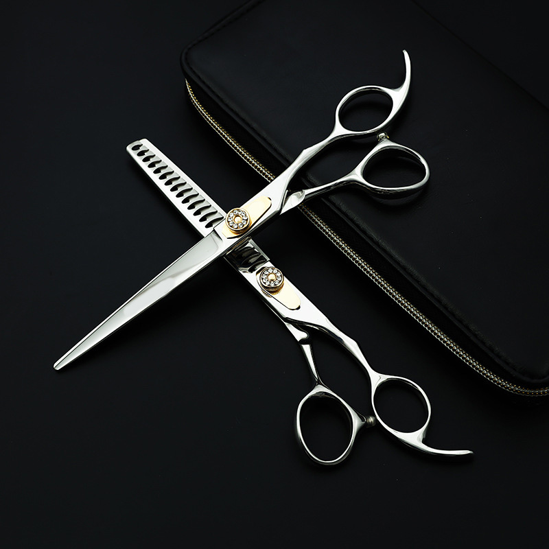 Professional Japan 440c 7.5 Inch Pet Dog Grooming Scissors Set Cutting+thinning Shears Thinning Rate About 25%-30%
