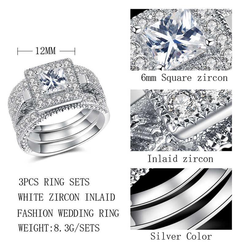 Kinel 3 ピース/セットファッションビッグ 6 ミリメートル正方形ジルコン花嫁のウェディングリングセットマイクロ舗装 cz 女性クラシックブルガリアジュエリー