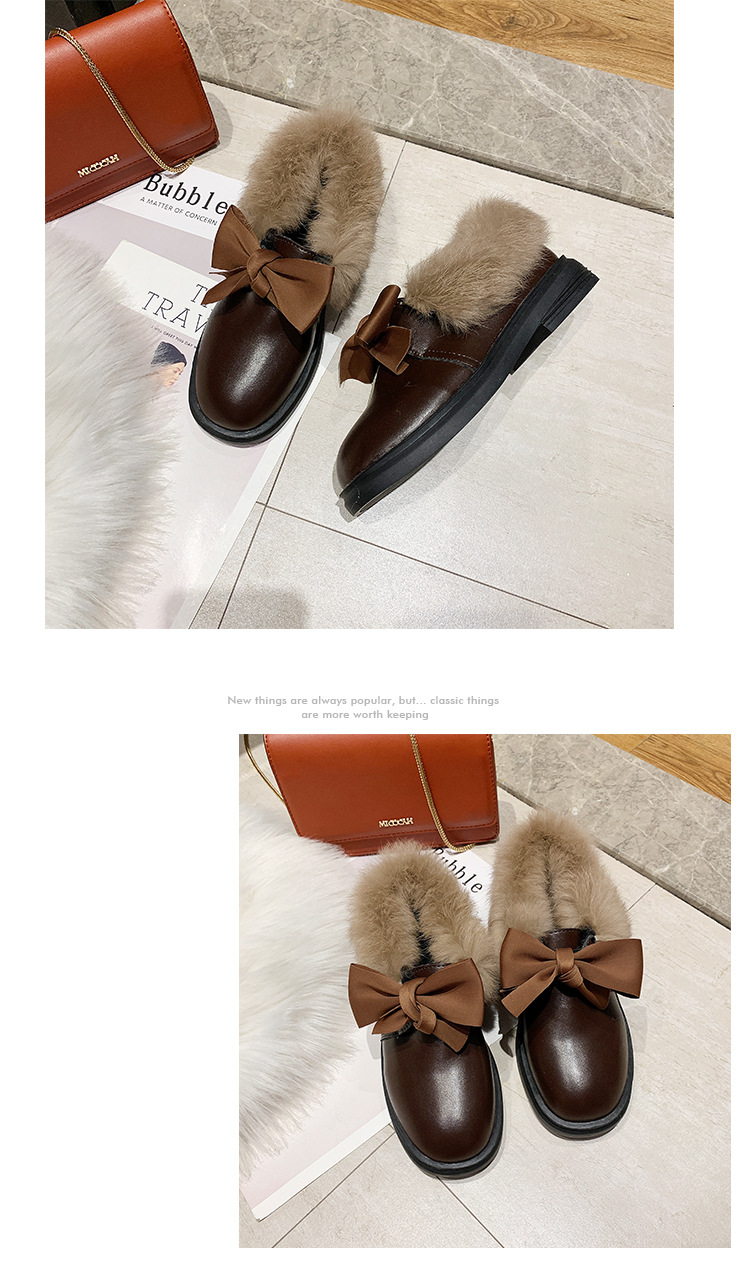 2019 winter long plush warm fur shoes bow tied decorate slip-on leather bullock shoes woman anti-skid chunky leisure espadrilles 55