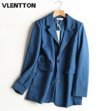 2020 Spring Autumn Blue Blazer Women Female Korean Solid Pockets Suit Jacket Coat Female Outwear Tops Office Lady Blazers Mujer