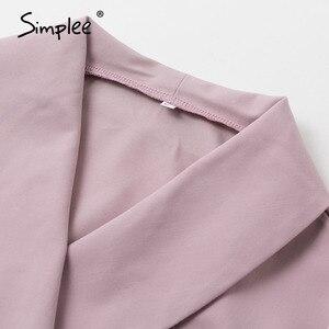 Image 5 - Simplee vestido elegante de oficina, con escote en V de talla grande, faja sólida, tiro alto, manga larga, blazer, vestido informal elegante para primavera