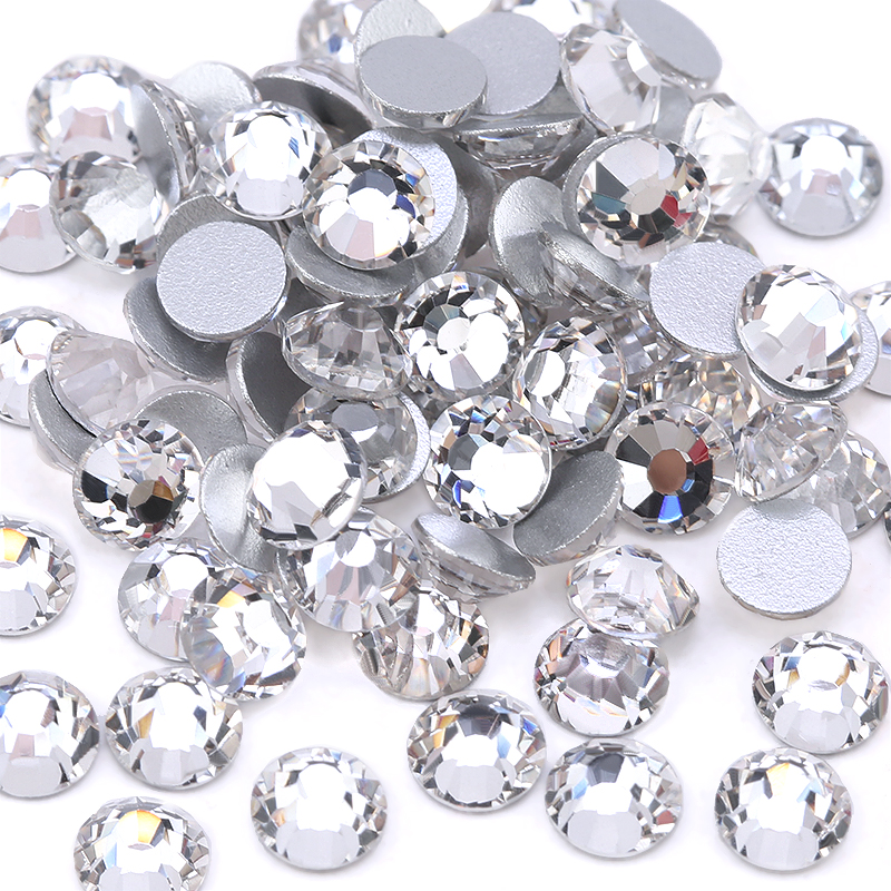 Top quality SS3-SS40 Clear Crystal White 3D Nail Art Decoration rhinestones Silver Flatback Rhinestones Glitter Gems