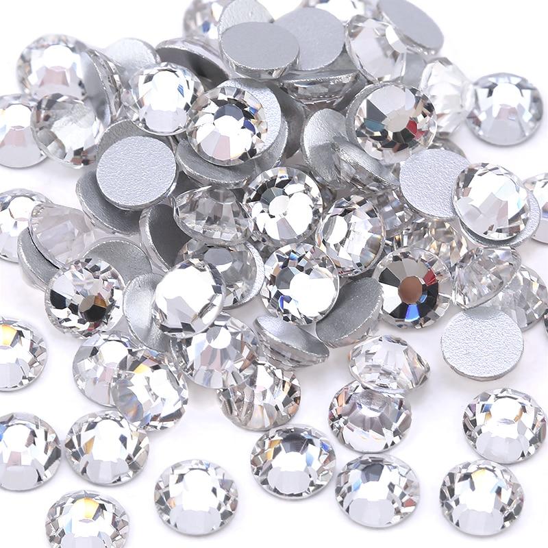 Top quality SS3-SS40 Clear Crystal White 3D Nail Art Decoration rhinestones Silver Flatback Rhinestones Glitter Gems