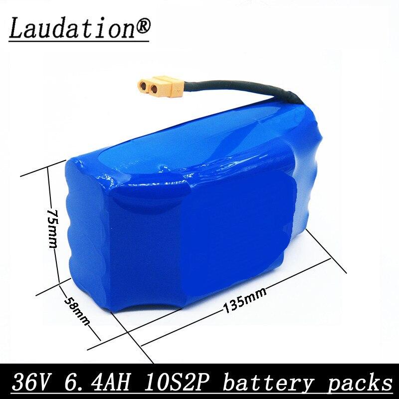 Laudation 36V 6.4AH 10S2P scooter électrique balance batterie de voiture l18650 batterie au lithium pour 2 roues auto-équilibrage scooter
