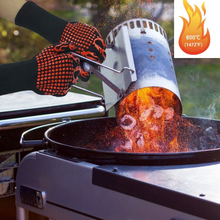 Kitchen Family Barbecue high Temperature Multi-Function oven baking Heat-Resistant thick Silicone 1 pair of Gloves BBQ все цены