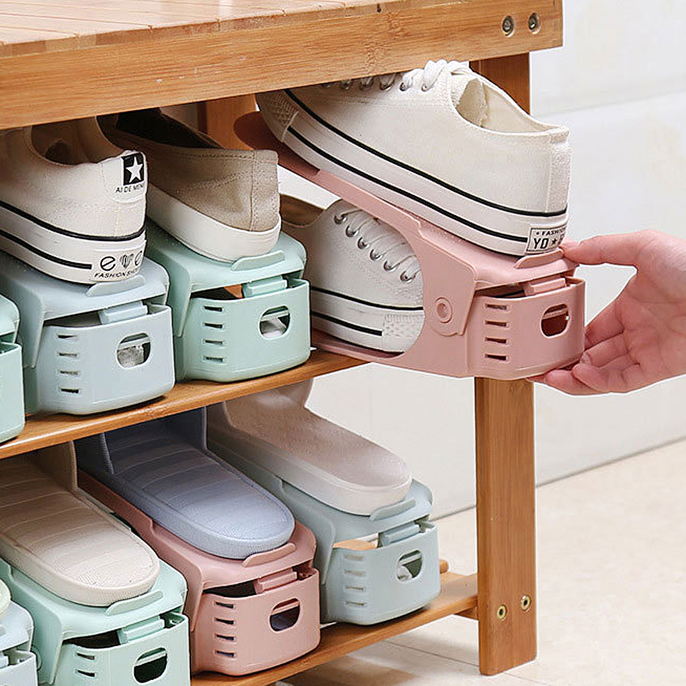 New Adjustable Plastic Shoe Rack Stand Shoe Organizer Double Shoes  Organizers Stand Shelf for Living Room Space Saving Cabinet-Leather bag