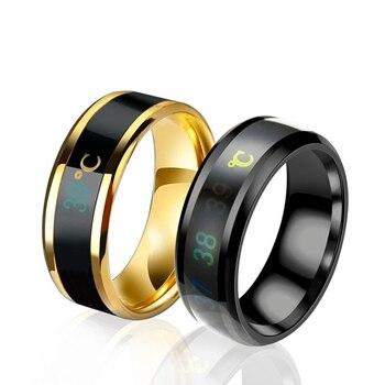 Pierścień temperatury tytanu stali nastrój Emotion uczucie inteligentna temperatura wrażliwe pierścienie dla kobiet mężczyzn wodoodporna biżuteria