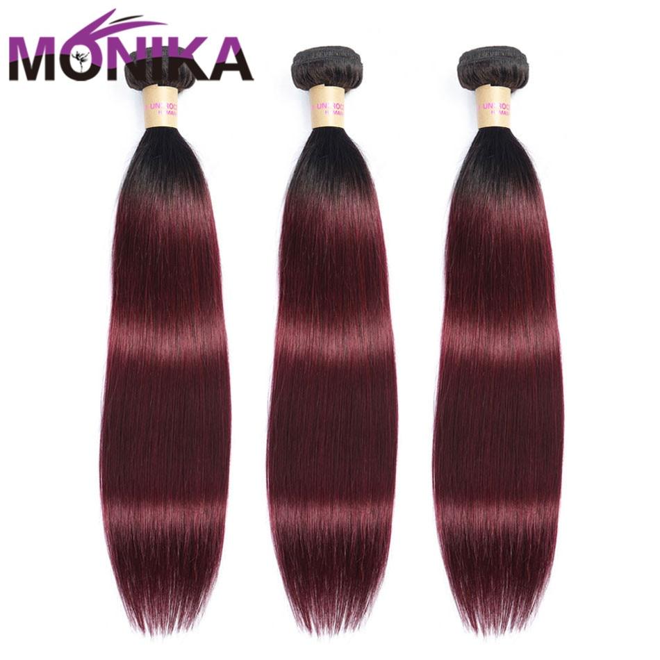 Monika Hair Pre-colored Weave T1B/99J Bundles Ombre Hair Straight Bundles Human Brazilian Hair Weave Bundles Non-Remy Ponytail