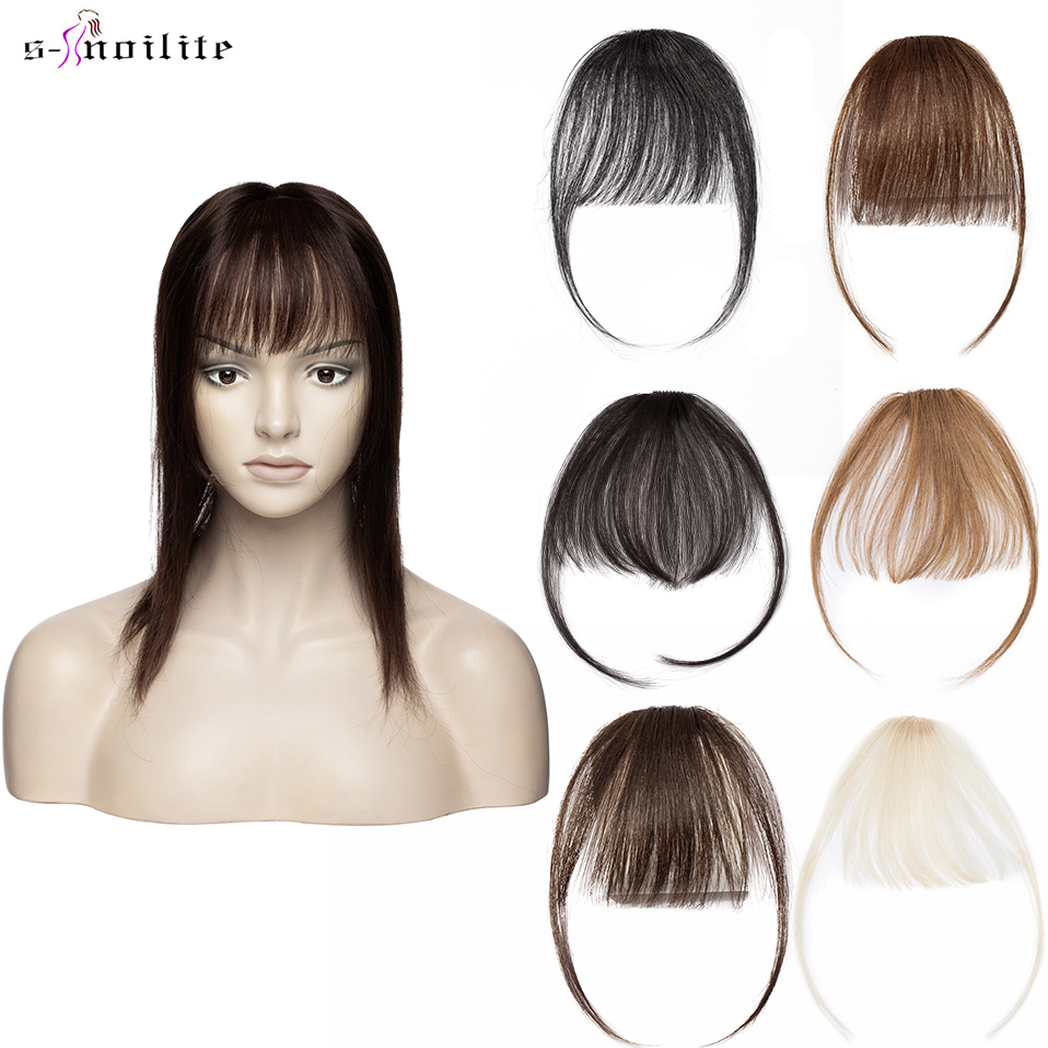 Air-Hair-Bangs Fringe-Hairpiece Clip-In Human Small S-Noilite with Temples for Women