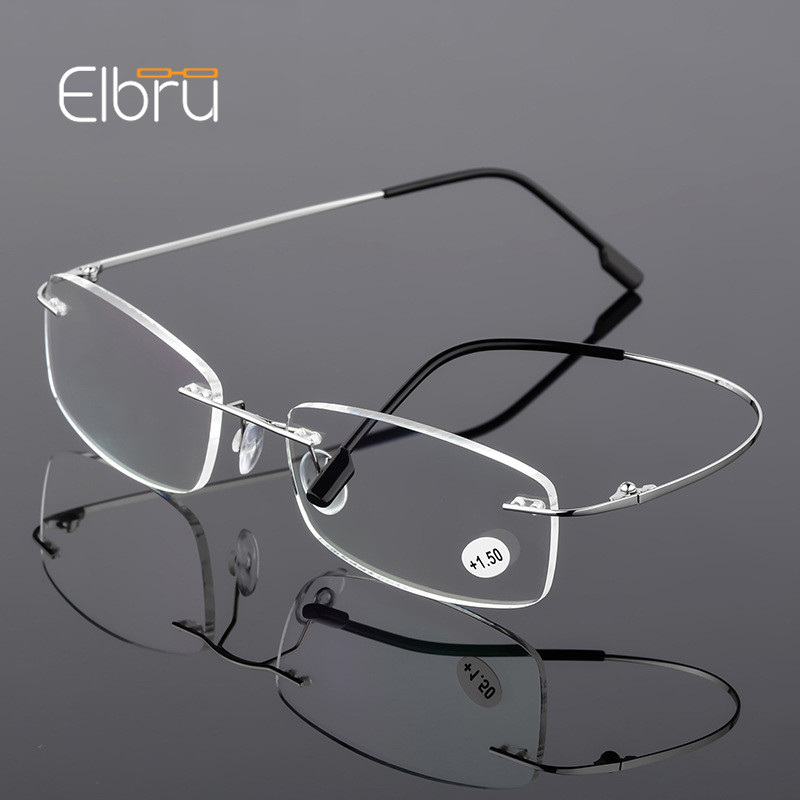 Elbru Ultralight TR90 Memory Titanium Rimless Reading Glasses Men&Women Presbyopic Eyeglasses +1.0 +1.5 +2.0 to+3.5 +4.0