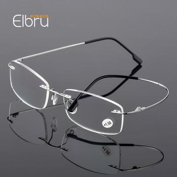 Elbru Ultralight TR90 Memory Titanium Rimless okulary do czytania mężczyźni i kobiety okulary korekcyjne + 1 0 + 1 5 + 2 0 do + 3 5 + 4 0 tanie i dobre opinie Unisex Jasne Lustro YJ7690 3 0cm Z tworzywa sztucznego 5 2cm Tytanu 200002146 200002198