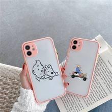 Przygody futerałów na telefon Tintin matte transparent dla iphone 7 8 11 12 plus mini x xs xr pro max cover