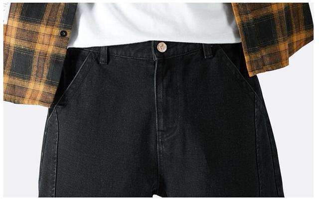 #2104 Streetwear Biker Jeans For Man Blue Black Big Size Loose Hip Hop Harem Jeans Homme High Quality Men's Jeans Fashion Casual