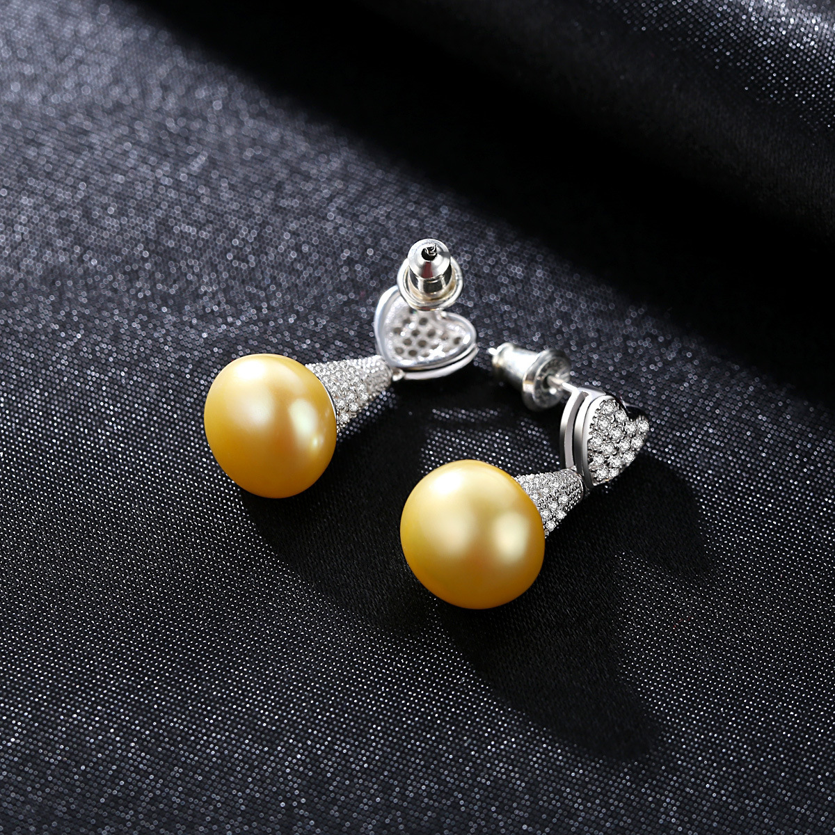 YUEYIN Sterling Silver Earring 11 12mm Pearl Earrings Stud Earrings Cute Sweet Heart Bride Jewelry Korean High Quality New in Earrings from Jewelry Accessories
